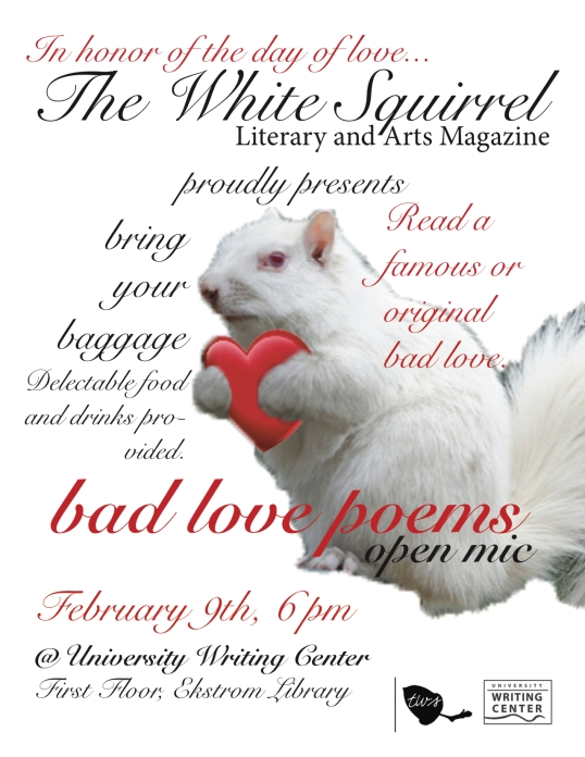white squirrel valentines day open mic